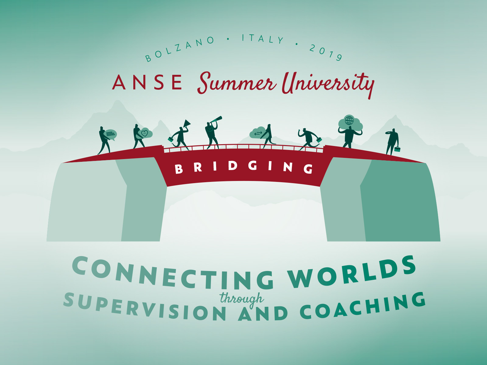 ANSE Summer University 2019 in Bolzano, Italy. Organised by BSC ASC Supervision and Coaching. Illustration Design by adpassion, Waldemar Kerschbaumer.
